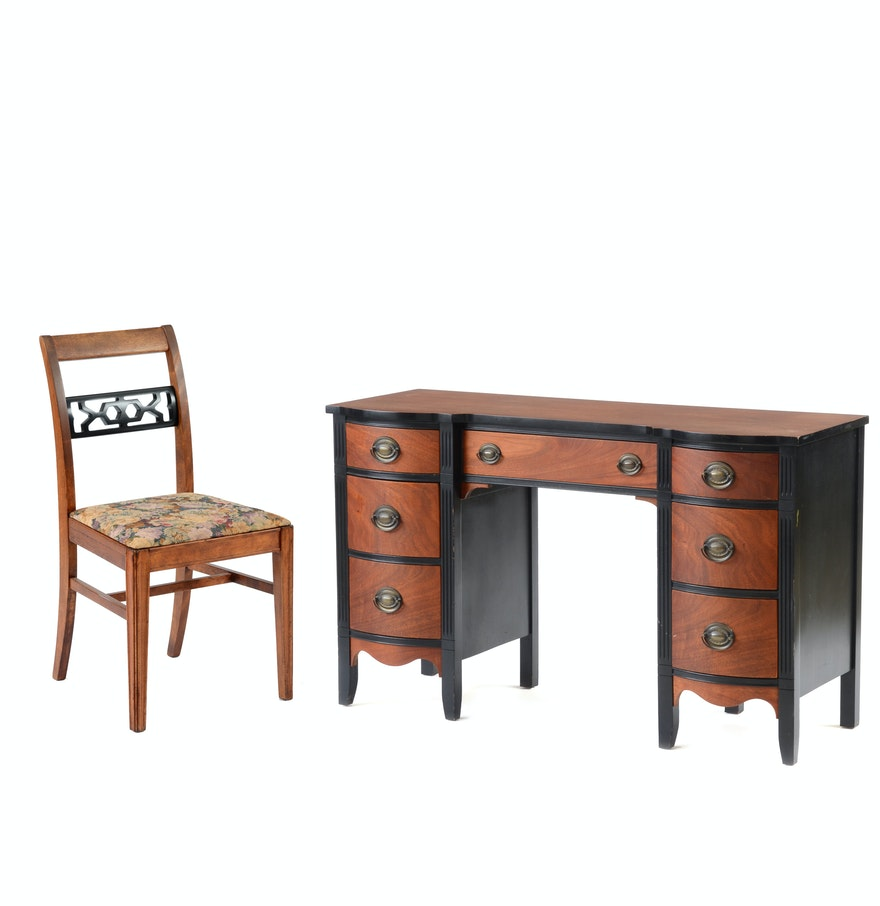 Wooden Writing Desk With Chair EBTH