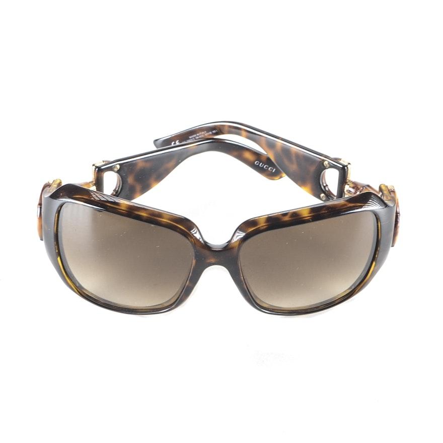 e44d96c47a Gucci Faux Tortoise Bamboo Horsebit Sunglasses   EBTH