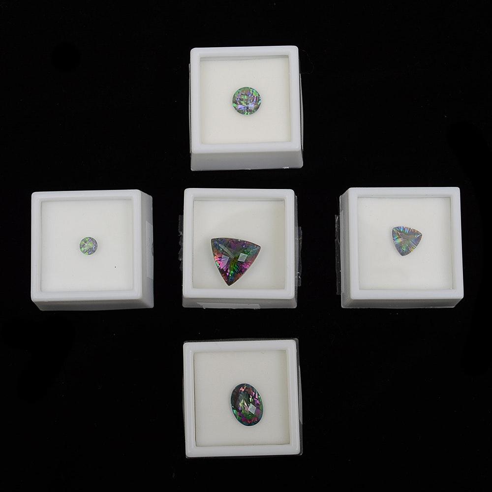 Five Loose Mystic Topaz Facet Cut Stone