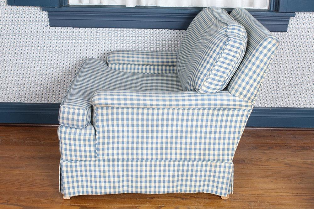 Plaid Chair With Ottoman Ebth
