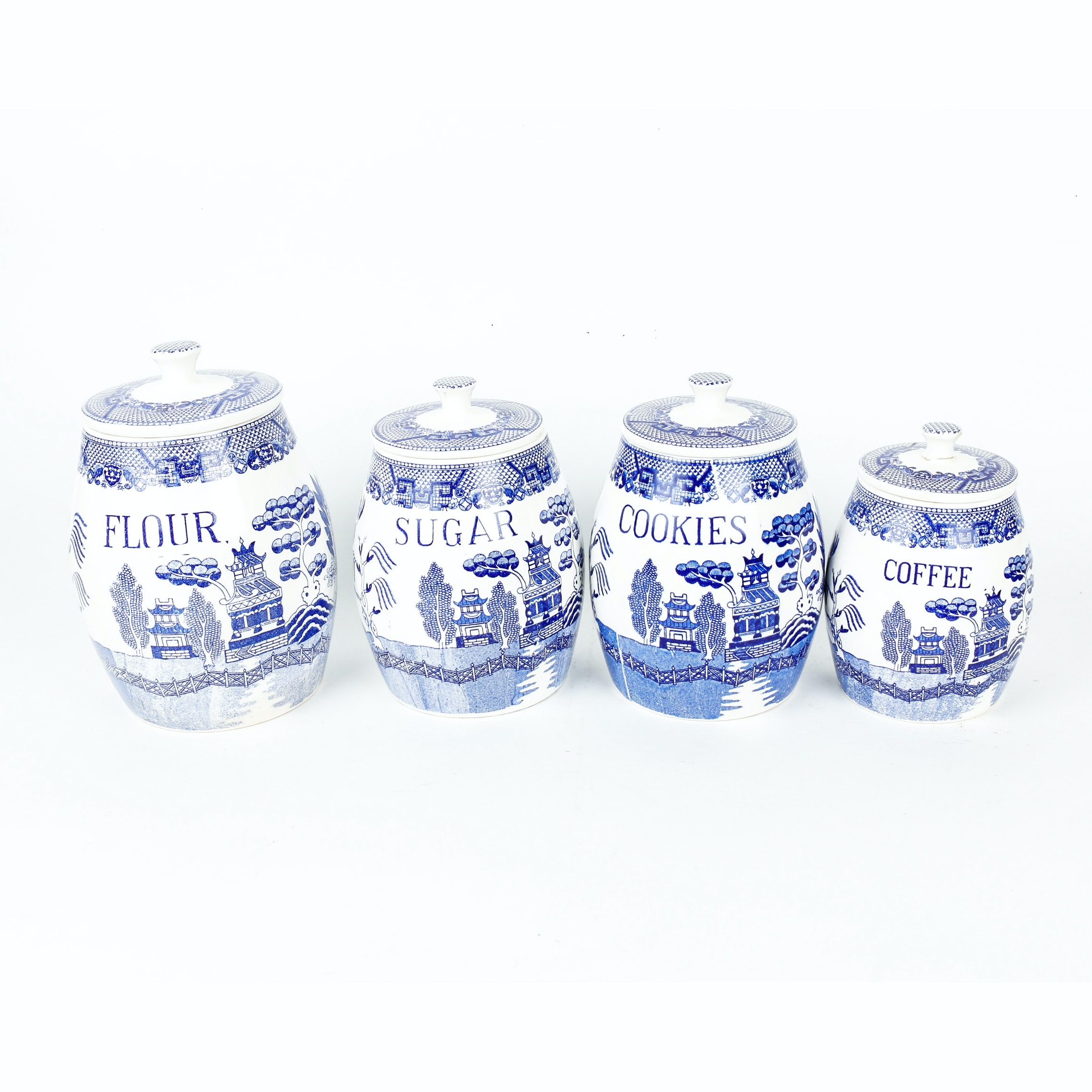 vintage 1940s blue willow creative imports japan kitchen canisters