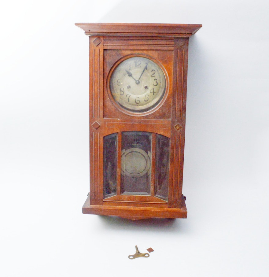 Antique style mahogany wood wall clock ebth for Antique wall clock wood