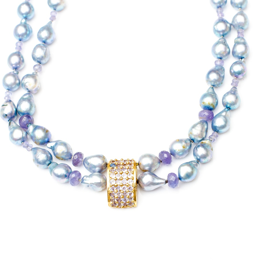 Blue Topaz And Pearl Necklace: Vintage Freshwater Pearl Necklace With Tanzanite And Blue