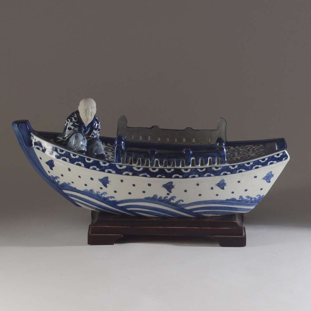 Early 20th Century Japanese Boat Form Figural Jardinière