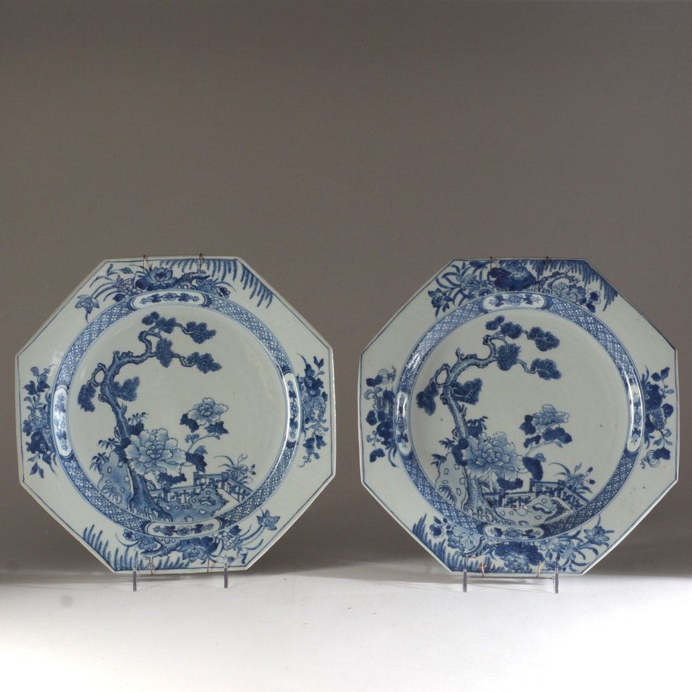Pair of Antique Chinese Octagonal Dishes