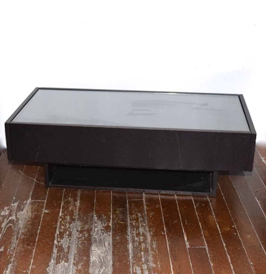 Glass Topped Coffee Table With Storage Drawers Ebth