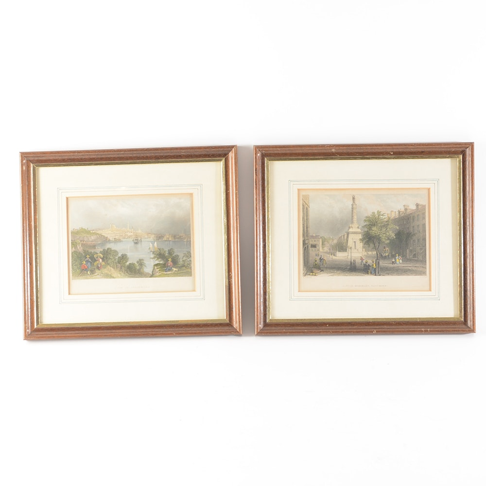 Pair Of Antique Hand Colored Engravings After William