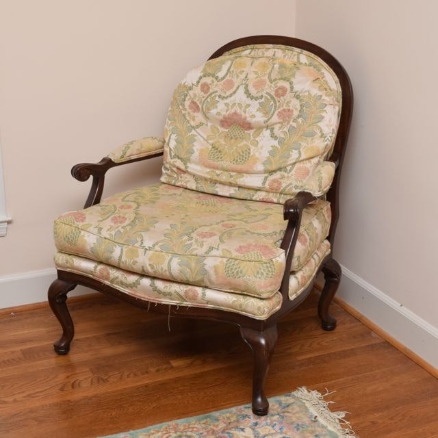 harden walnut upholstered bergere chair