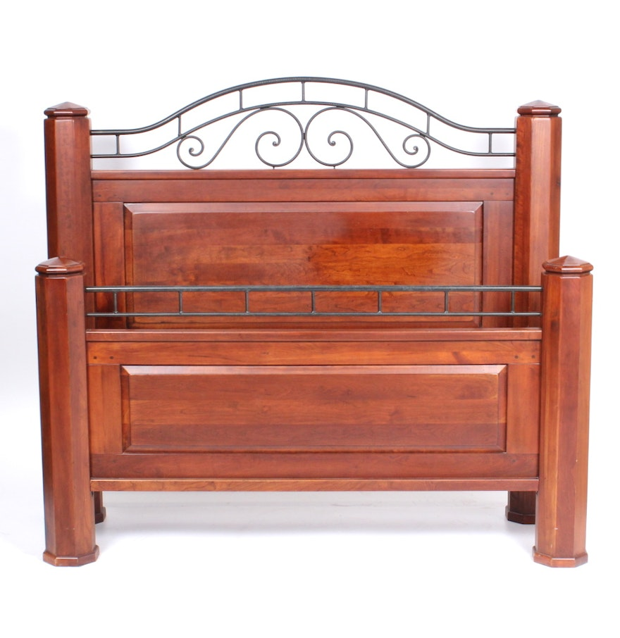 cherry and wrought iron queen size bed by lexington furniture ebth. Black Bedroom Furniture Sets. Home Design Ideas