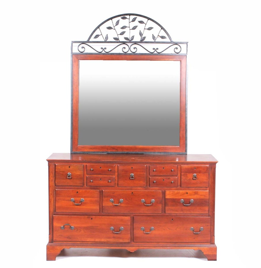 bob timberlake cherry dresser and wrought iron mirror by lexington ebth. Black Bedroom Furniture Sets. Home Design Ideas
