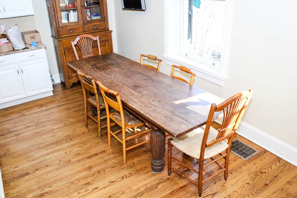 antique harvest table and six dining chairs ebth rh ebth com antique pine harvest table antique harvest table chairs