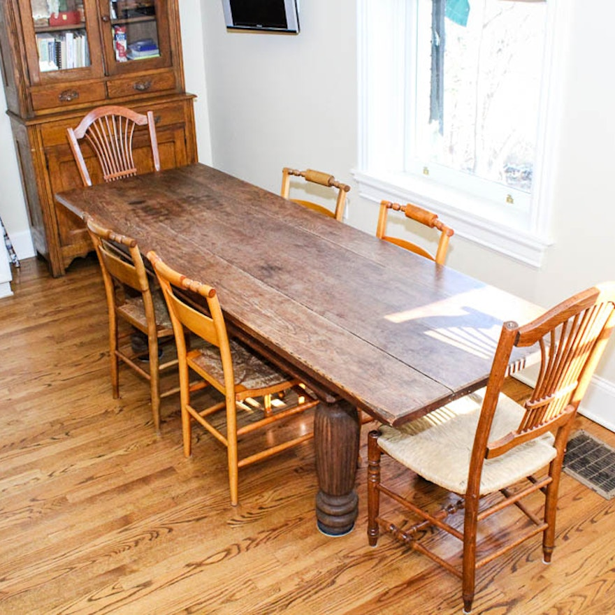 Antique Harvest Table And Six Dining Chairs