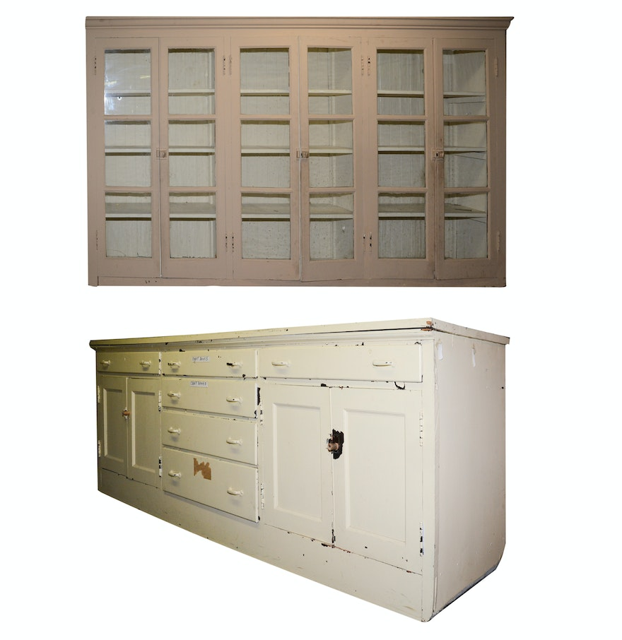 Large antique wood upper and lower wall cabinets ebth for Upper cabinets for sale