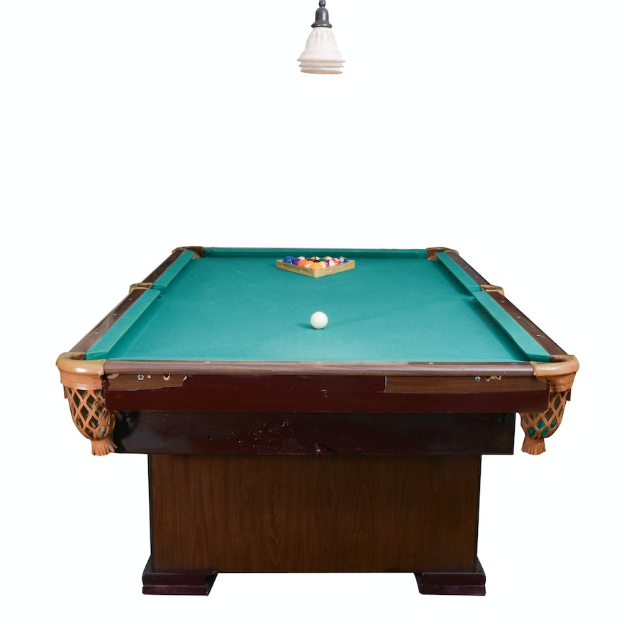 '8 Ball' Billiards Table, Lamp Fixture, And Accessories : EBTH