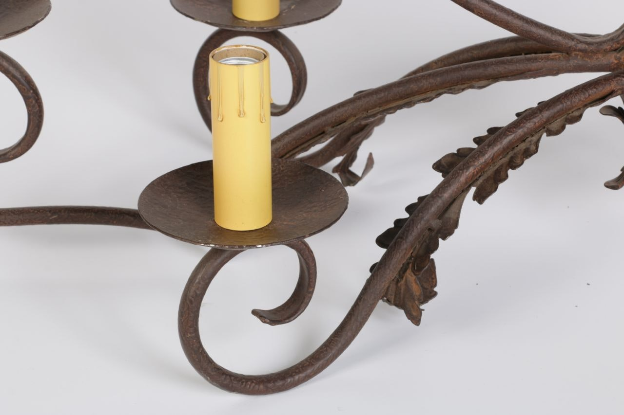 French Rusticated Wrought Iron Six Light And Decorative