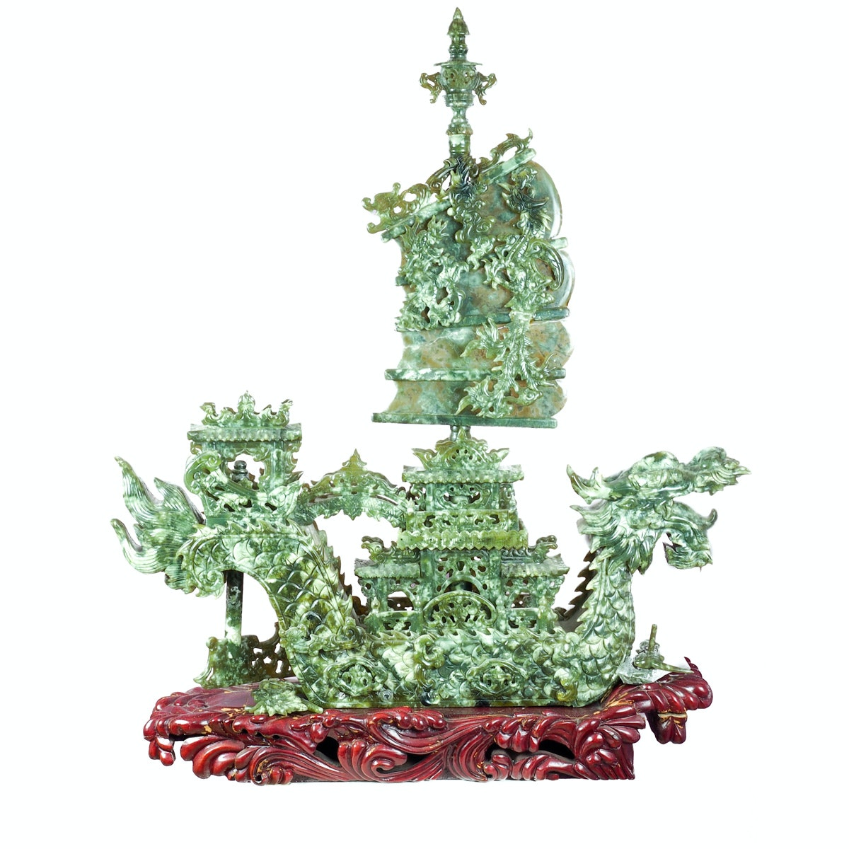 Chinese Carved Serpentine Sculpture Of a Dragon Ship