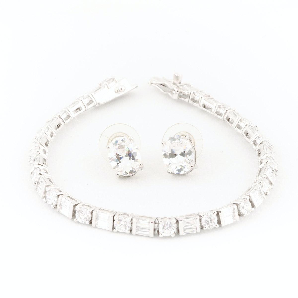 Tennis Bracelet and Earrings