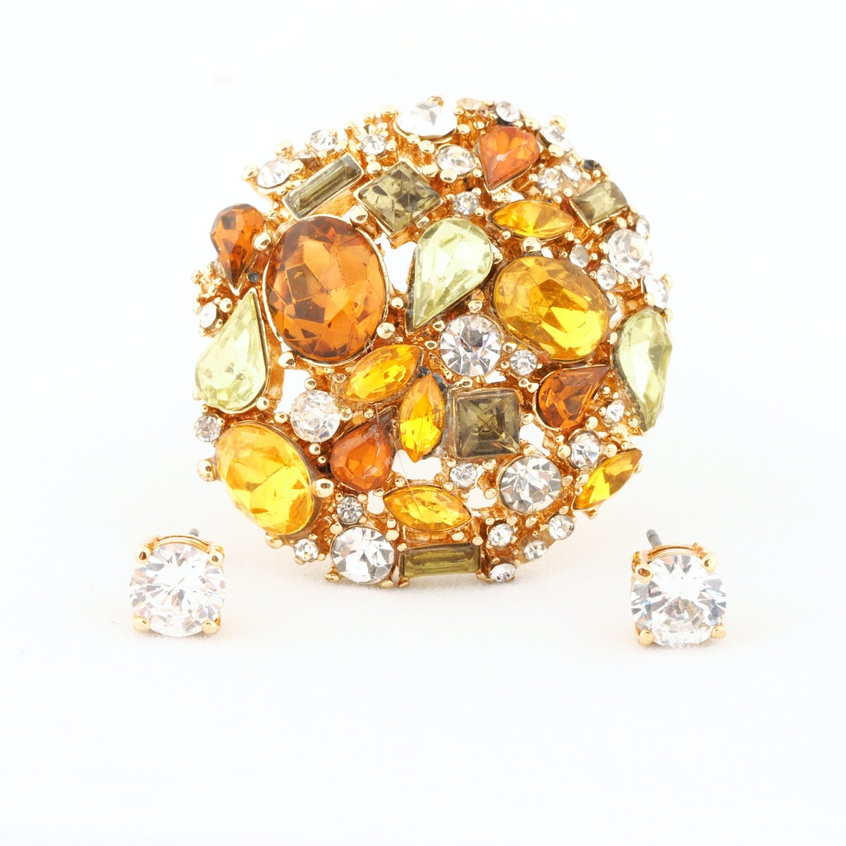 Judith Jack Cocktail Ring And Cubic Zirconia Studs