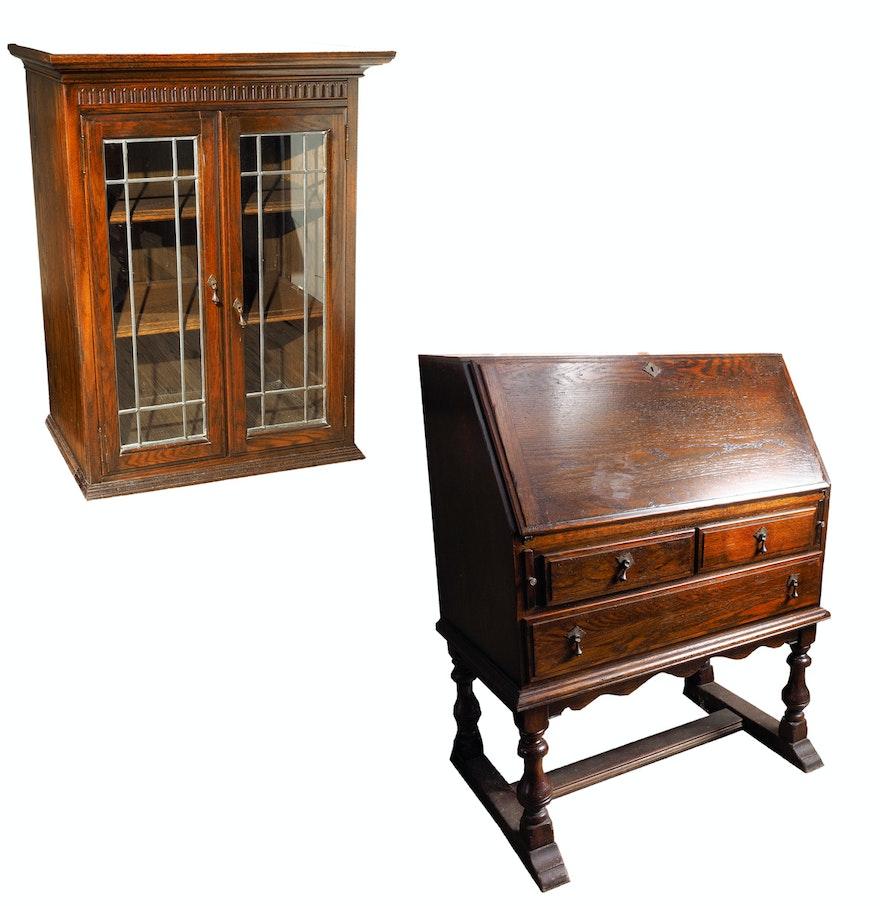 vintage ethan allen drop front secretary bookcase ebth. Black Bedroom Furniture Sets. Home Design Ideas