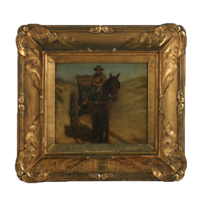 Anton Mauve Oil on Canvas of Cart Driver