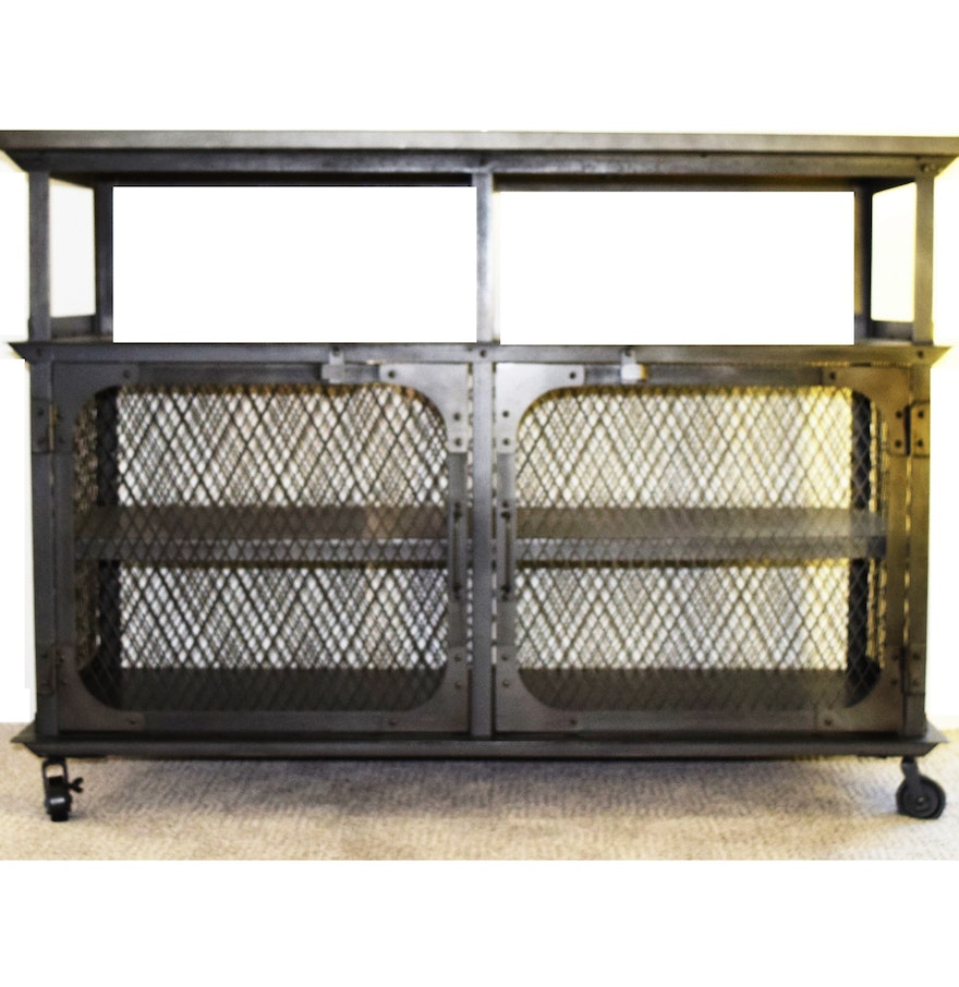 Industrial Mesh Coffee Table: Industrial Metal Mesh Console Table : EBTH