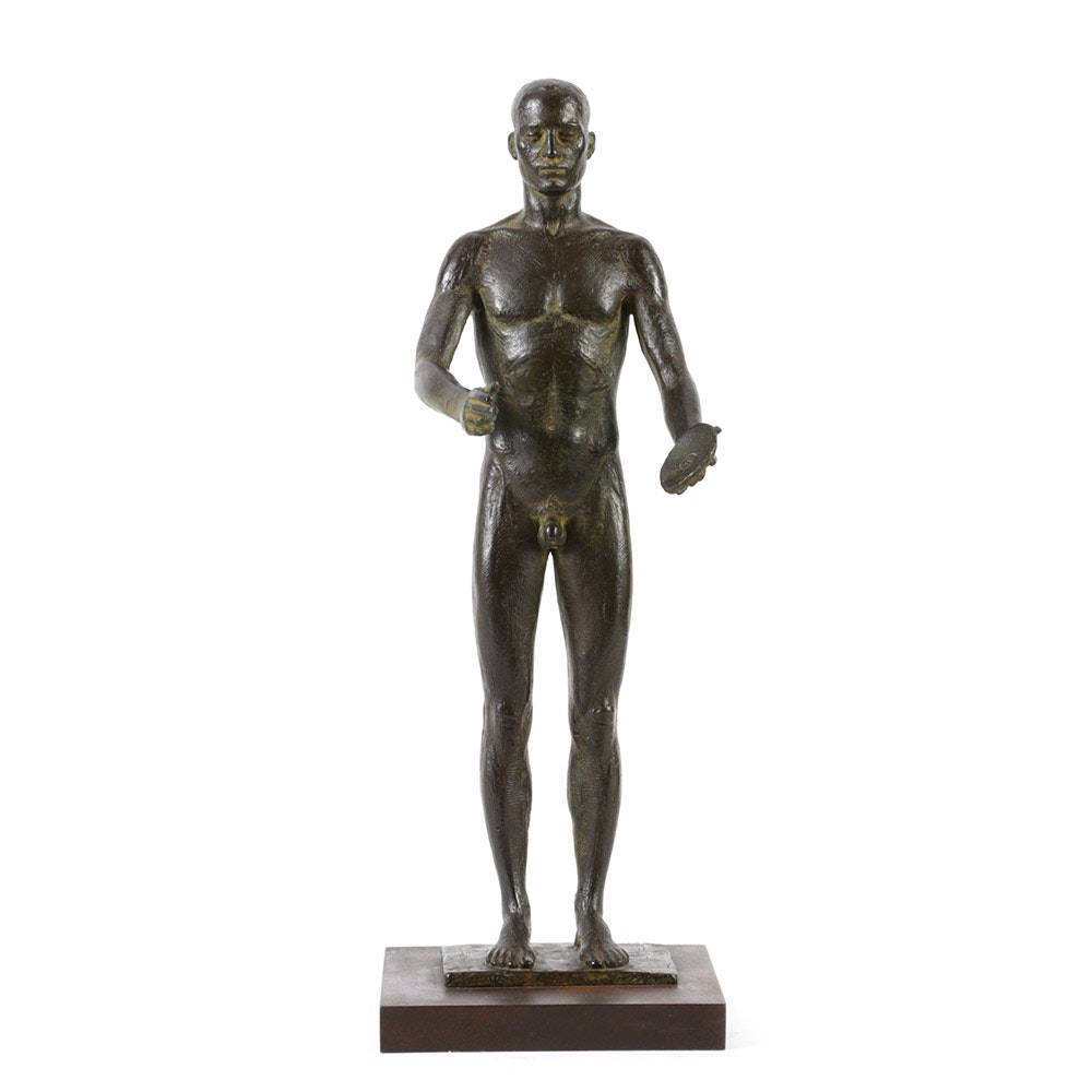 Miguel Garcia Delgado Limited Edition Bronze Sculpture of Nude Discus Thrower