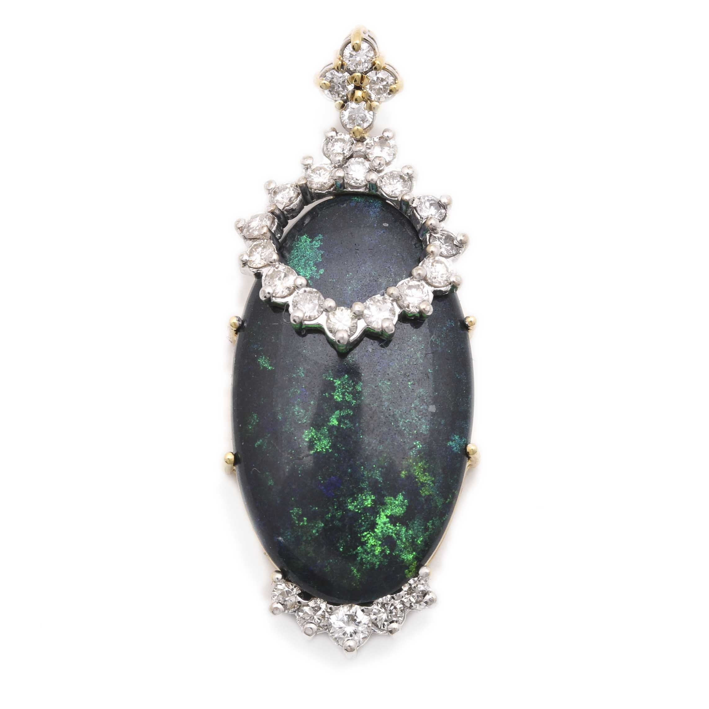 18K Two-Tone Gold Black Opal and Diamond Pendant