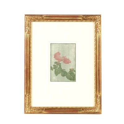 """Petunia"" Woodblock Print on Paper by Edna Boies Hopkins"