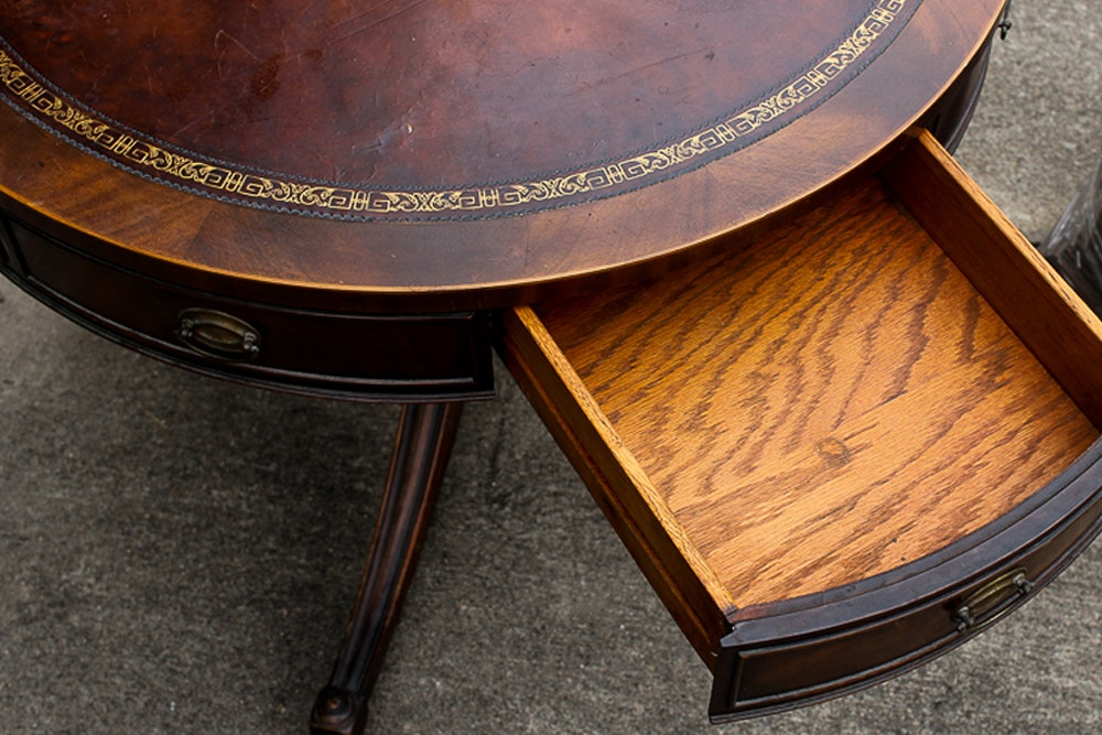 Vintage Mahogany Leather Top Drum Table : EBTH