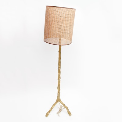 Vintage floor lamps retro table lamps antique lighting in floor lamp with woven rattan shade mozeypictures Gallery