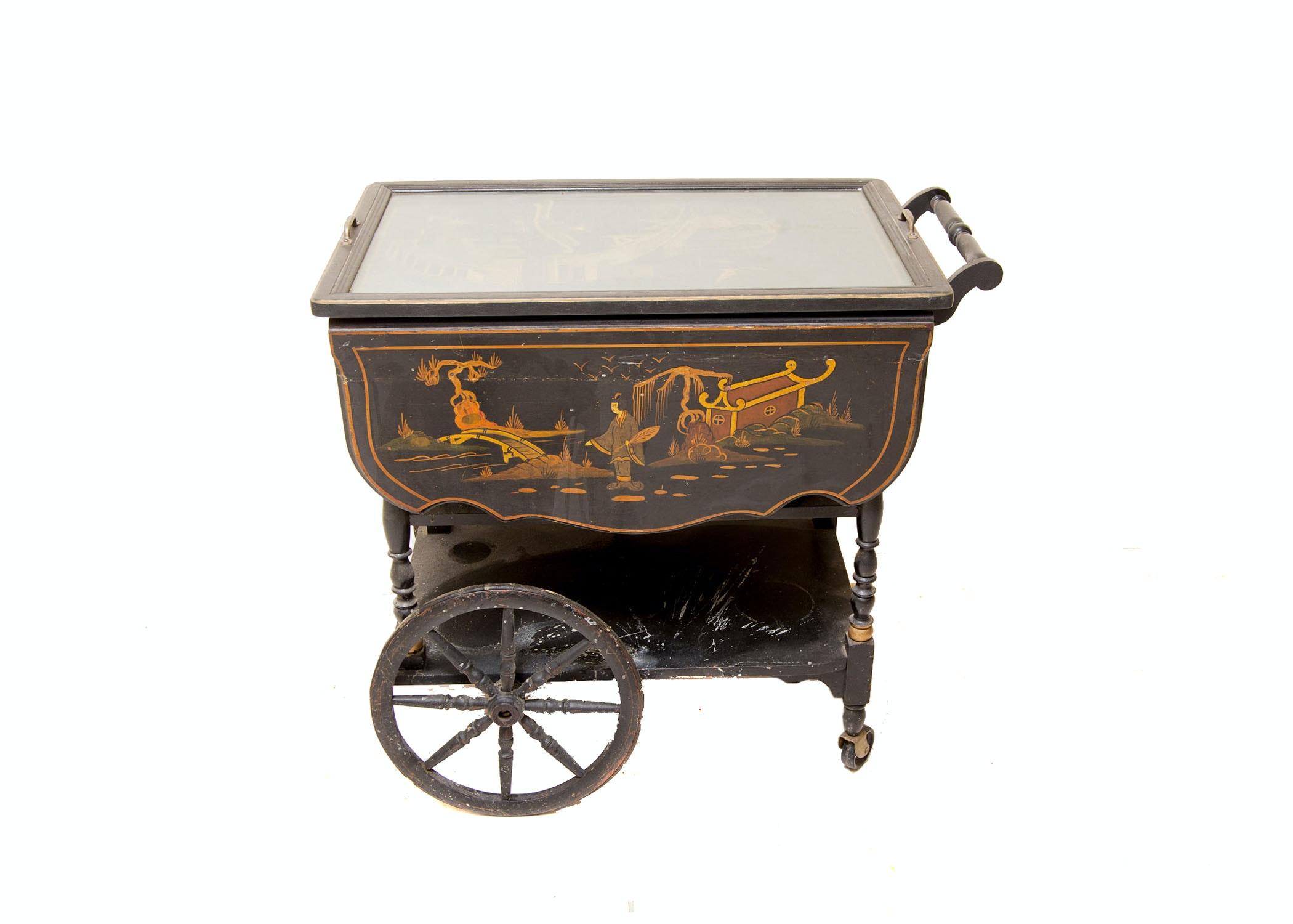 Vintage Chinoiserie Drop-Leaf Tea Cart
