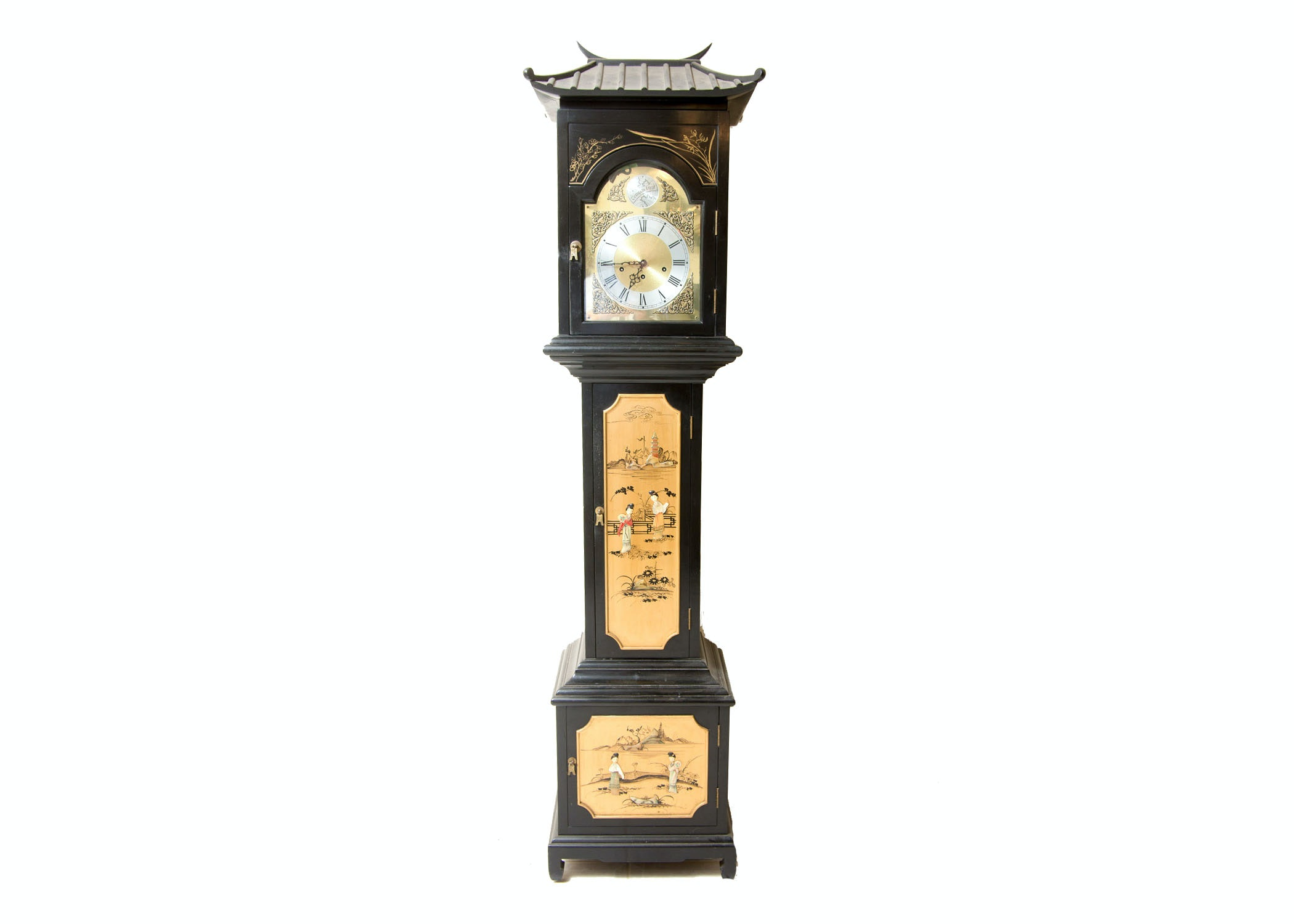 Chinoiserie Grandfather Clock with Pagoda Design