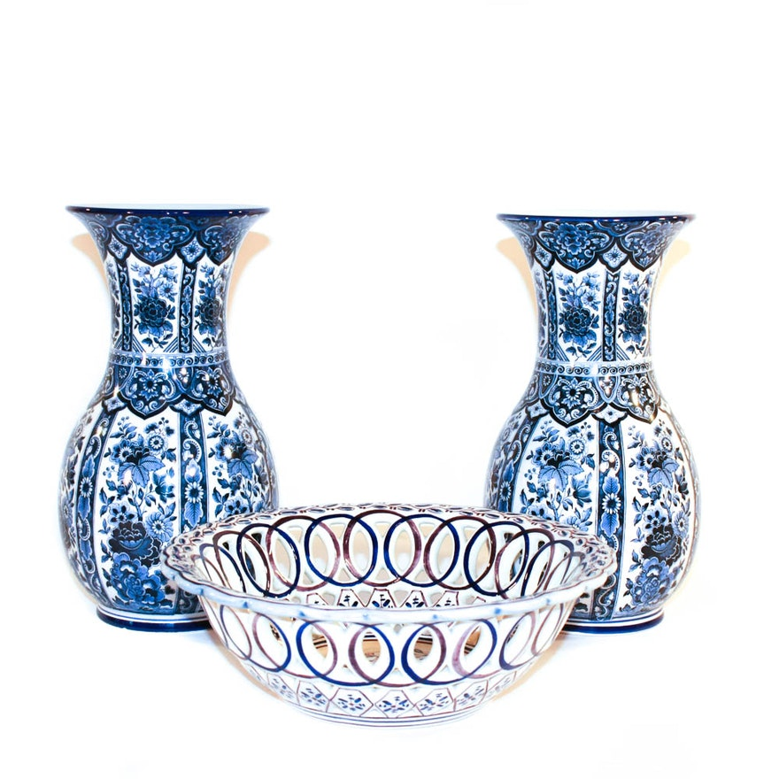 Ardalt Blue Delfia Vases From Italy And Hand Painted Bowl Ebth