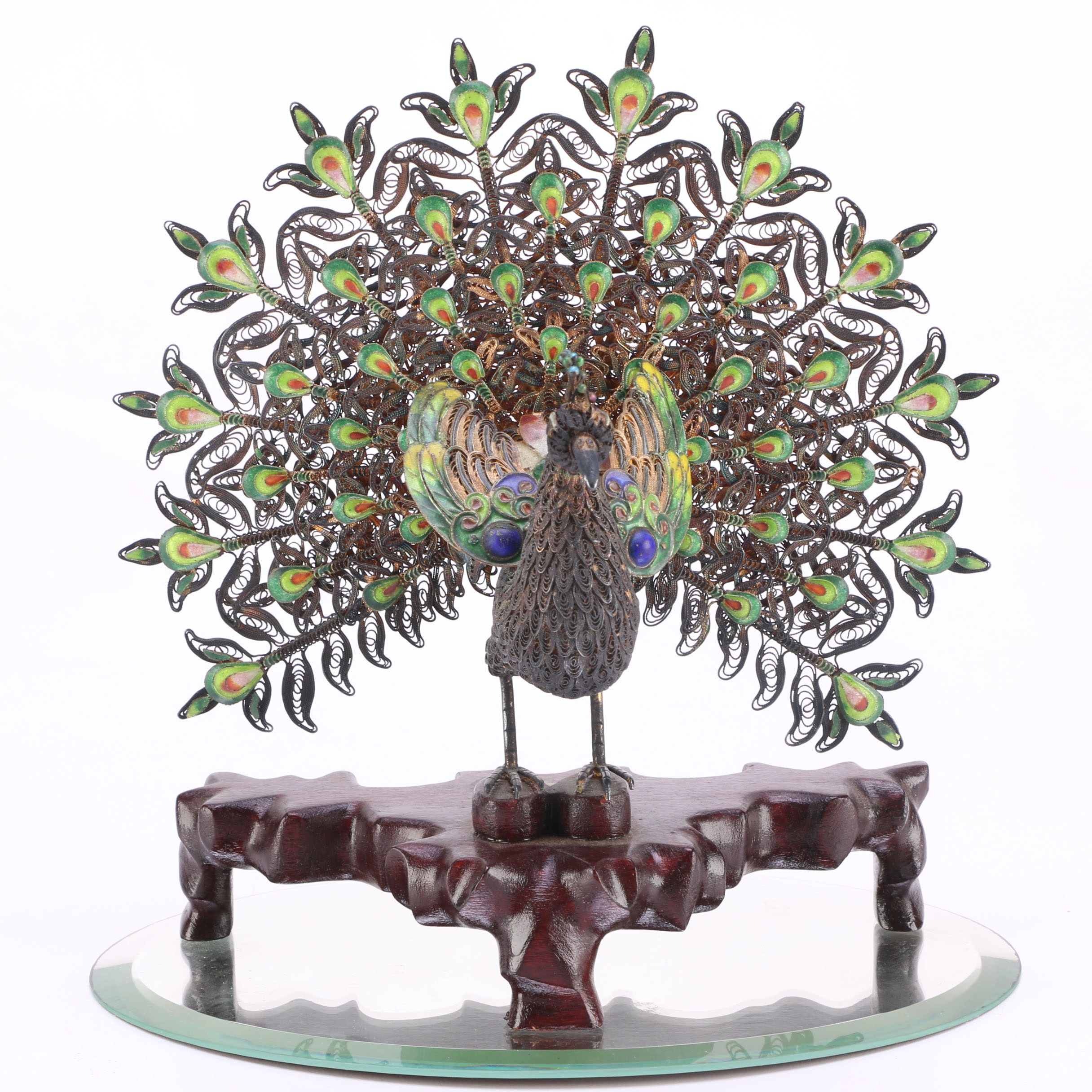 Curled Metal Peacock Table Decor