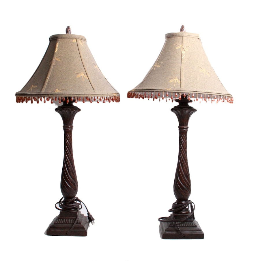 bead accented table lamps ebth. Black Bedroom Furniture Sets. Home Design Ideas