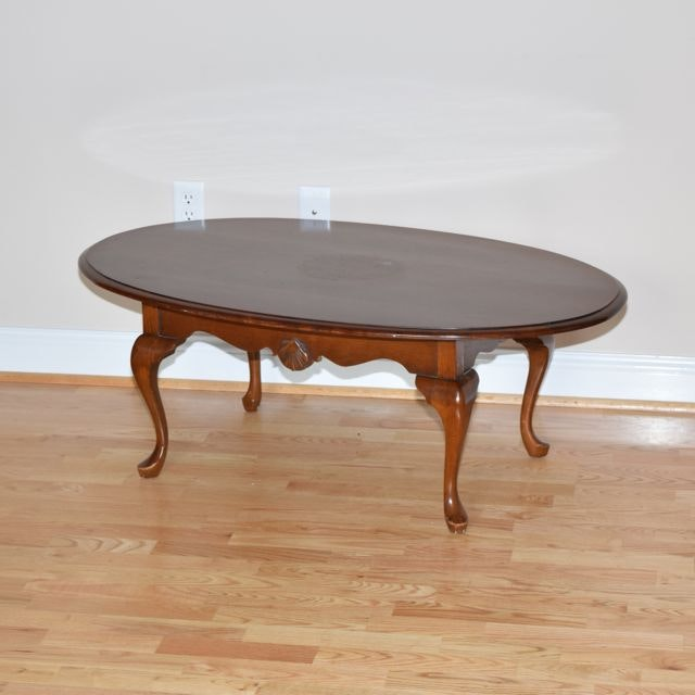 Queen Anne Style Cherry Coffee Table Ebth