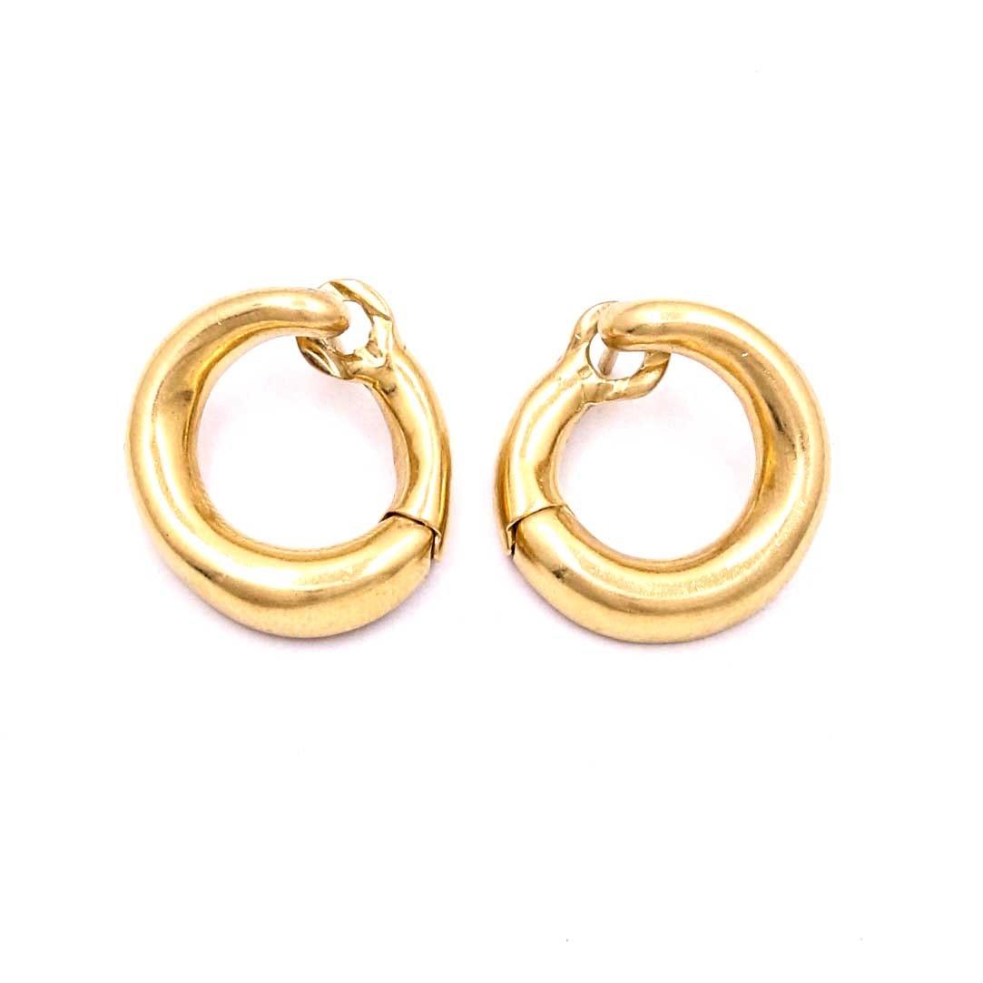 18k yellow gold huggie hoop earrings ebth