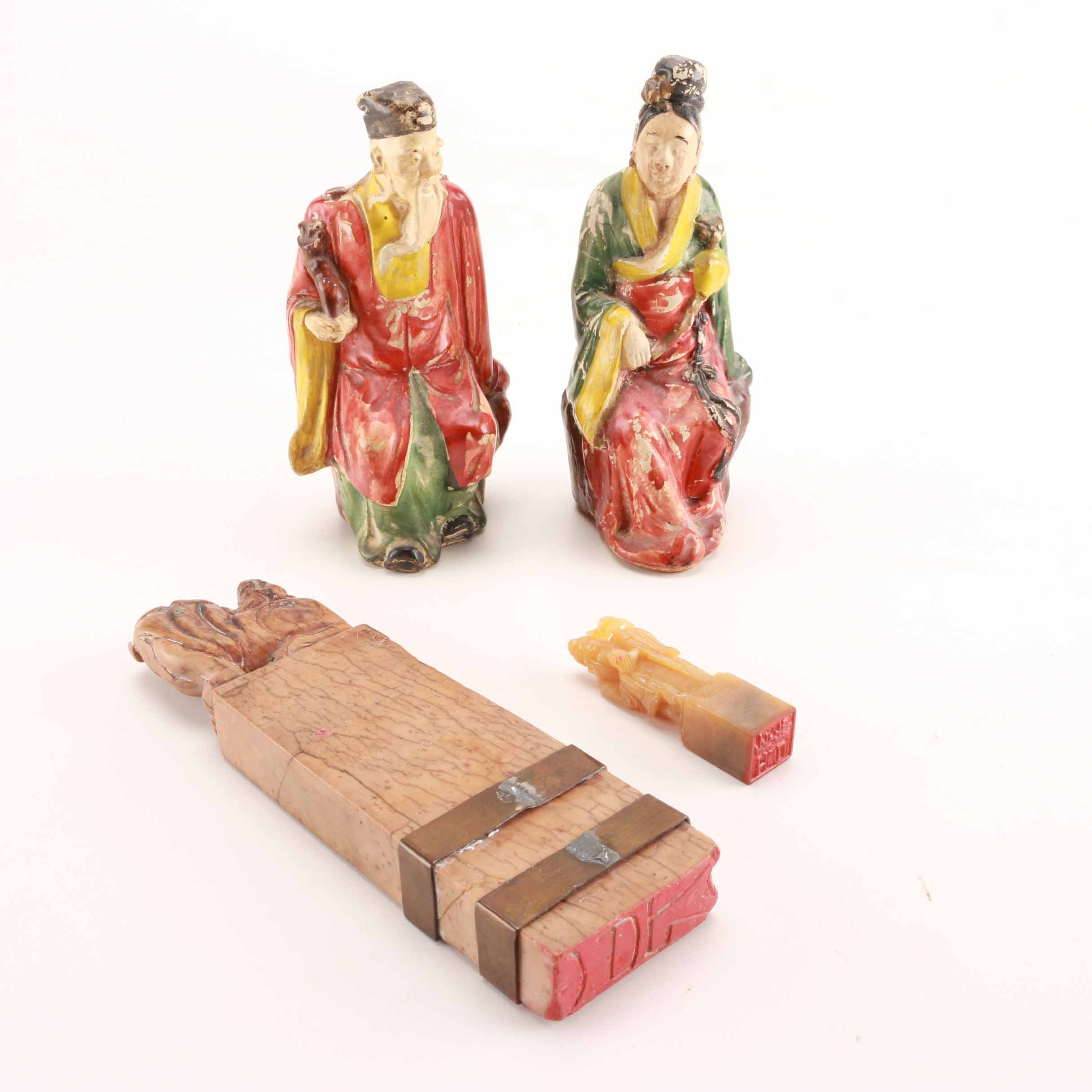 Chinese Figures and Seal Stamps