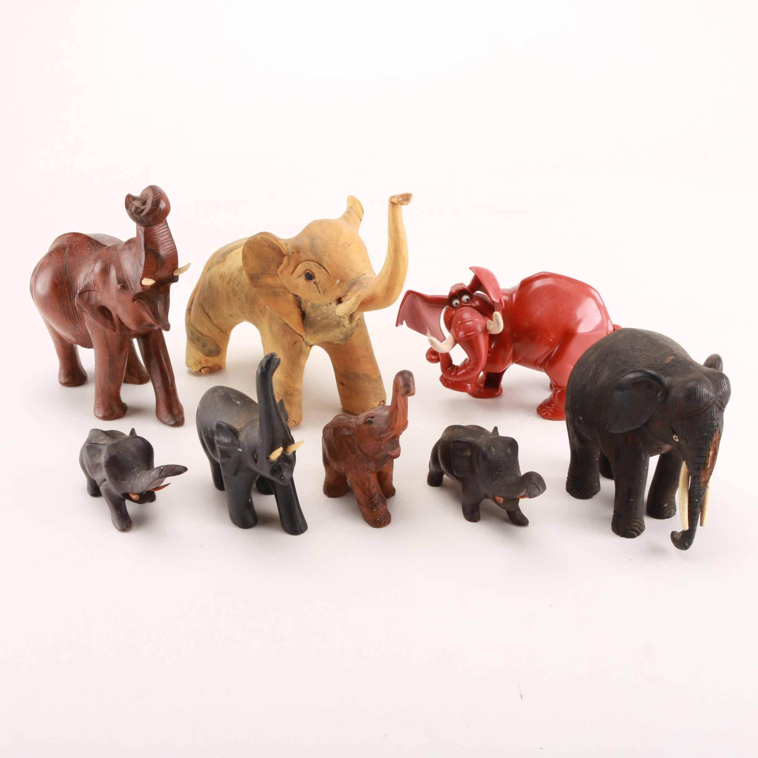 Variety of Elephant Figurines