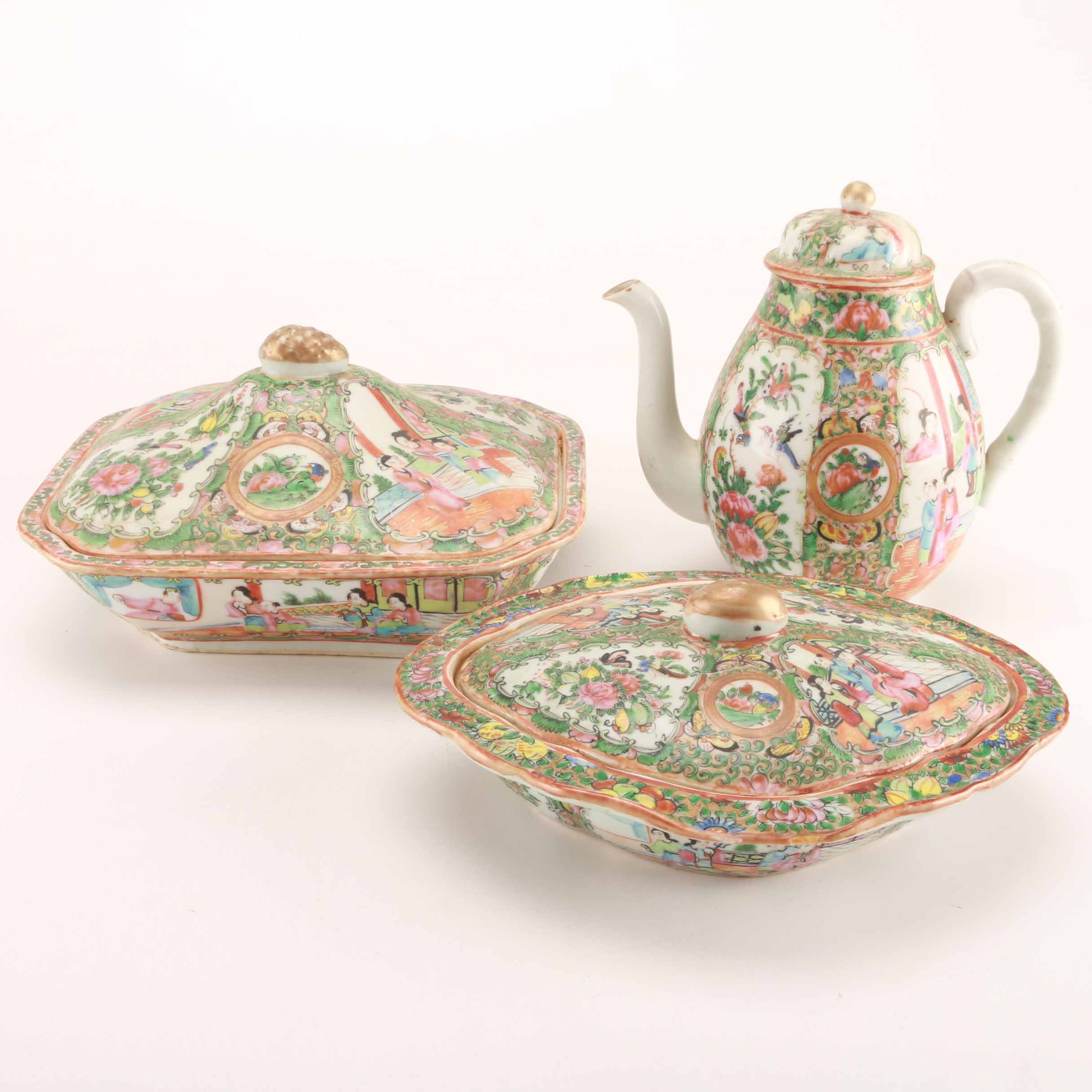 Chinese Rose Medallion Serving Pieces