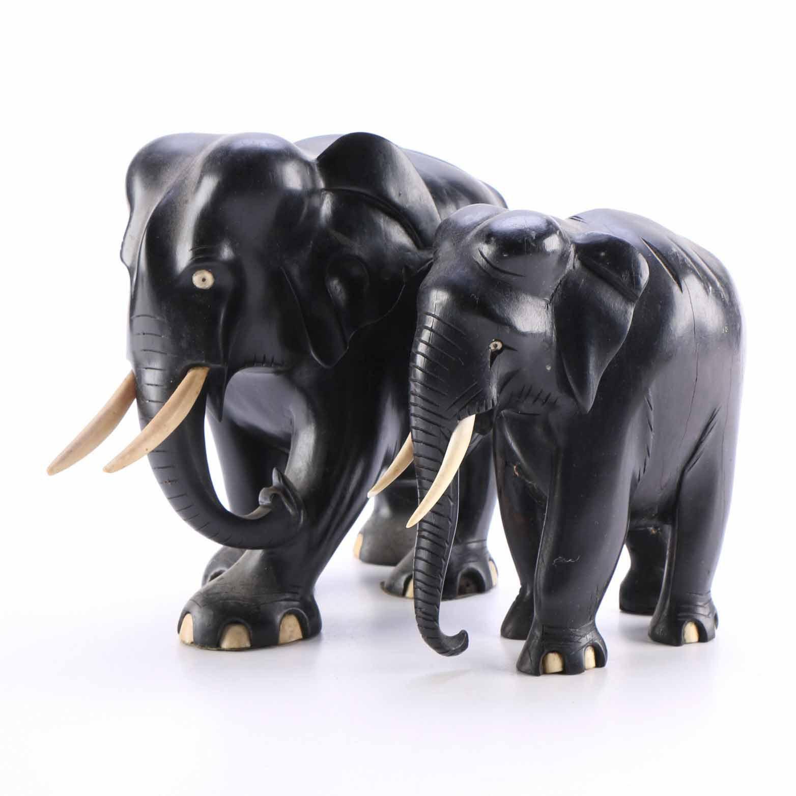 Elephants Figurines with Bone Tusks