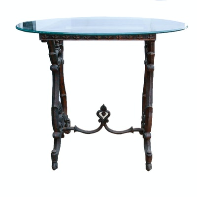 Online furniture auctions vintage furniture auction for Cast iron table with glass top