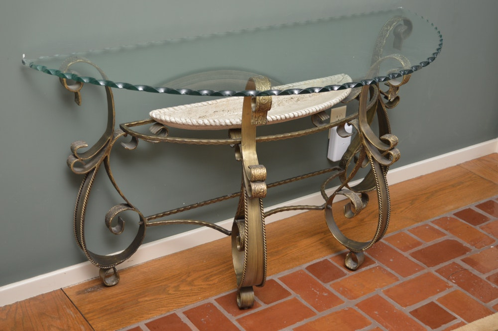 Glass and Metal Decorative Entry Table