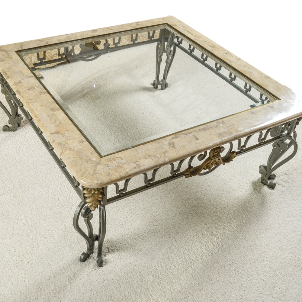 Marble and Glass Top Coffee Table