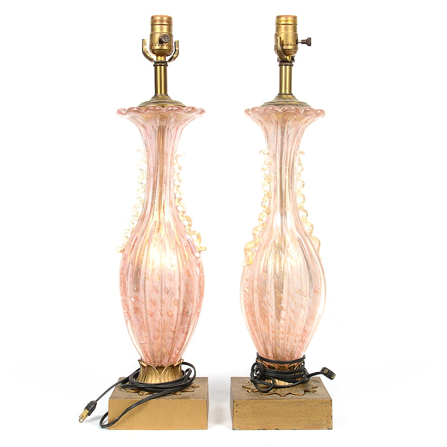 Vintage murano style pink blown glass table lamps ebth vintage murano style pink blown glass table lamps mozeypictures Choice Image