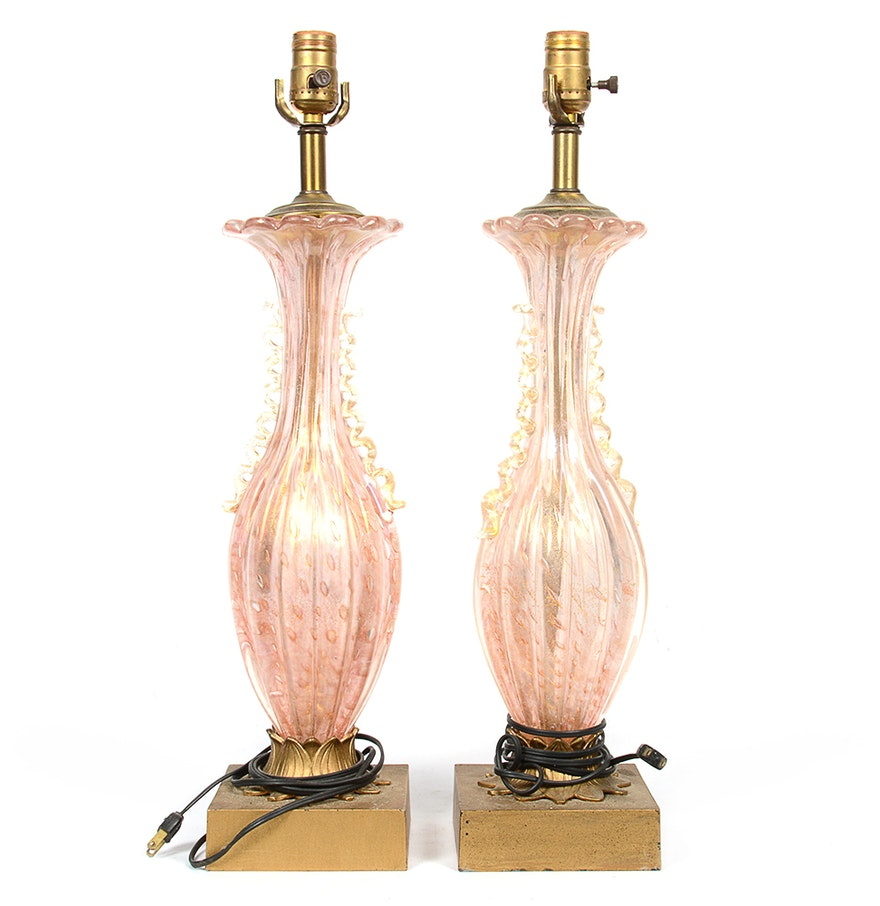 Table lamp vintage style - Vintage Murano Style Pink Blown Glass Table Lamps