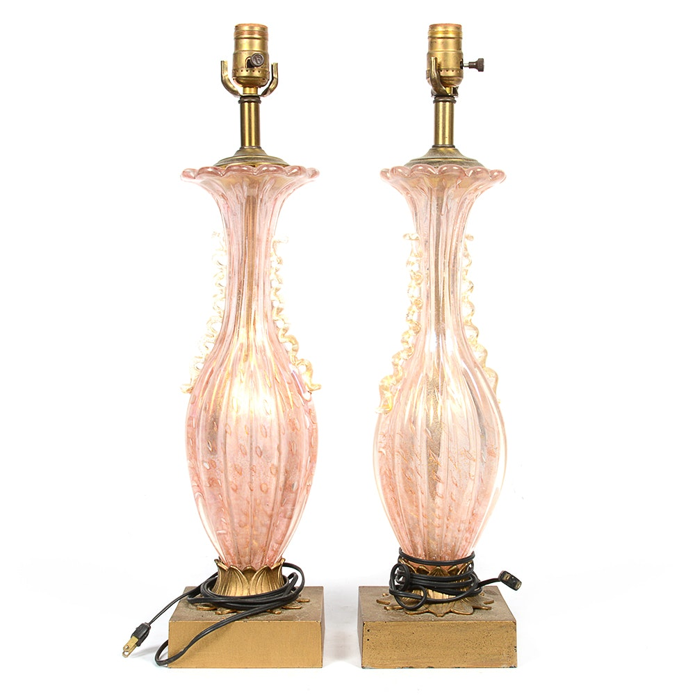 Vintage Murano Style Pink Blown Glass Table Lamps ...