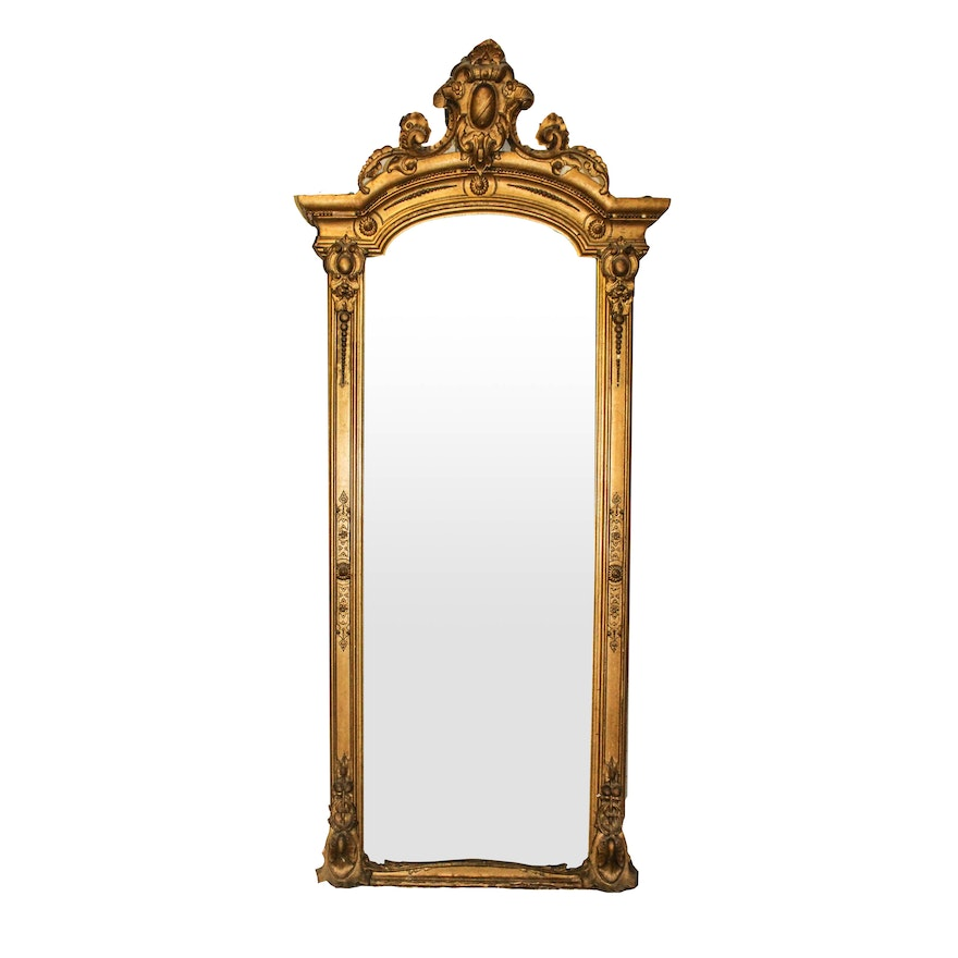 Very Large Vintage Floor Mirror With Gold Gilt Frame : EBTH
