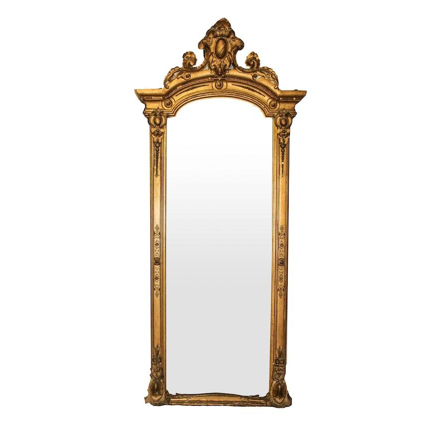 9e5d0d0190d7 Very Large Vintage Floor Mirror With Gold Gilt Frame