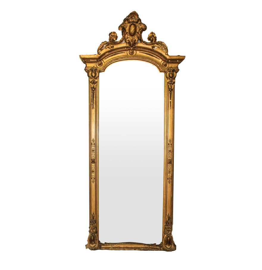 Very large vintage floor mirror with gold gilt frame ebth for Gold frame floor mirror